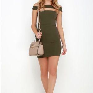 Lulus Modern Take Olive Green Off Shoulder Dress S